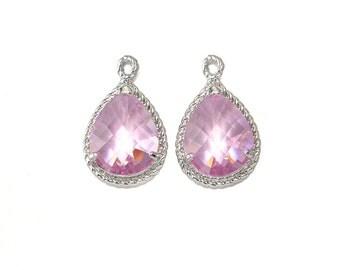 Pink Glass Pendant . Jewelry Craft Supplies . Polished Original Rhodium Plated over Brass  / 2 Pcs - CG001-PR-PK