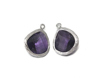 Amethyst Glass Pendant . Jewelry Craft Supplies . Polished Original Rhodium Plated over Brass  / 2 Pcs - CG004-PR-AM
