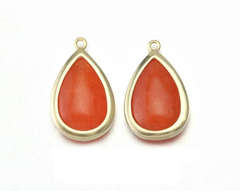 Orange Stone Pendant . Jewelry Craft Supplies . 16K Matte Gold Plated over Brass  / 2 Pcs - CG018-MG-OR