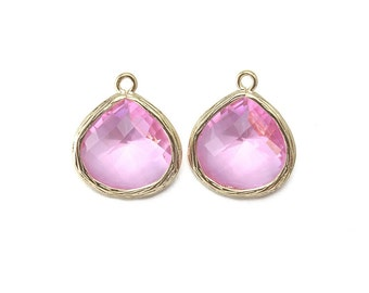 Pink Glass Pendant . Jewelry Craft Supplies . 16K Polished Gold Plated over Brass / 2 Pcs - AG002-PG-PK