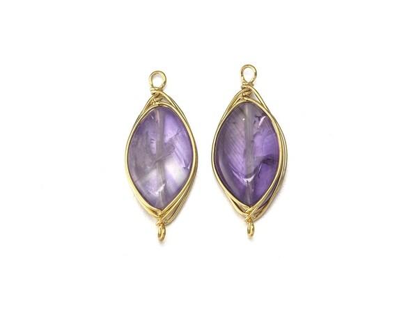 amethyst gemstone connector jewelry craft supplies 16k
