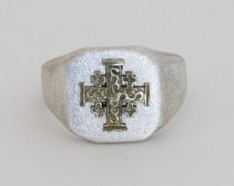 Men silver signet ring with Jerusalem cross .Jerusalem cross ring. Free  shipping.