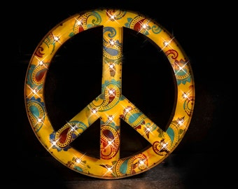 Marquee Letter, Paisley Peace Marquee Sign, Marquee Star, Lighted Metal MARQUEE SIGN, Marquee Letter, Marquee Light Fixture: Peace Sign