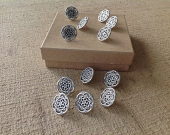 Decorative push pins - 12 pc - silver finished - round shape - thumb tacks