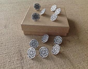 Decorative push pins - 12 pc - silver finished - round shape - thumb tacks