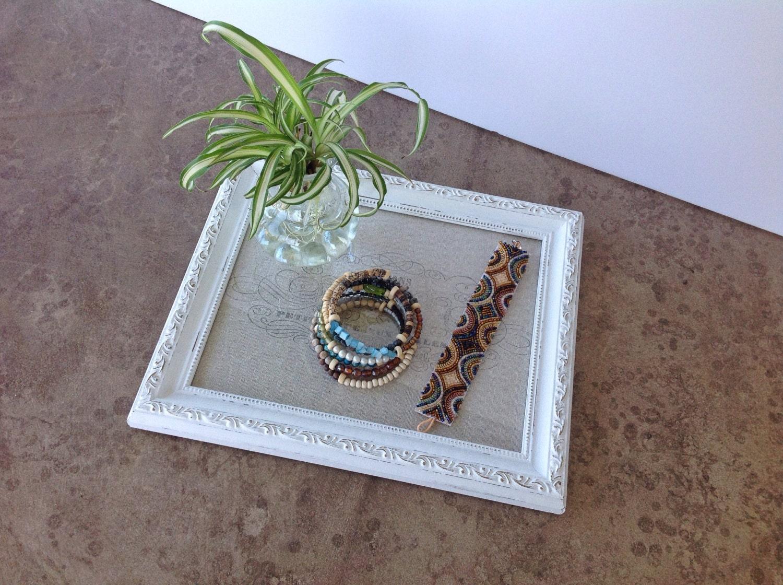 White tray vanity tray shabby chic decor for Decorative bathroom tray