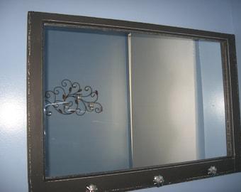 Typeset Black Vintage Window Pane Mirror #3761