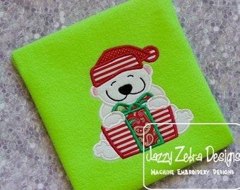Polar Bear with Present Applique Design