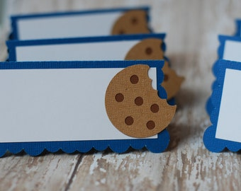 Cookie Monster inspired Place Cards, Food Tents, Cookie Party Place Cards