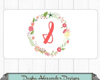 Floral Wreath Initial License Plate - Personalized Car License Plate - Sweet 16 Gift for Girl Chevron Car Tag!