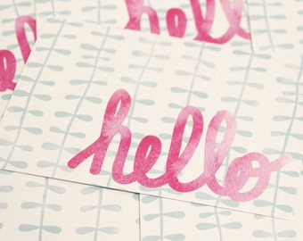 5 Hello Watercolor! Postcards - All-Occasion Greeting Cards with Hand-Lettered Watercolor Design