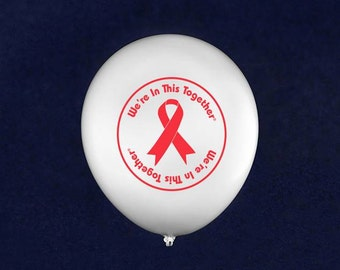 Together Red Ribbon Balloons (50 Balloons) (BAL-6WT)