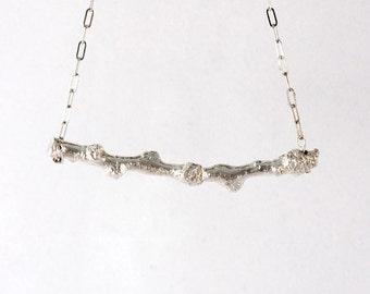 Cottonwood Twig Necklace in Sterling Silver
