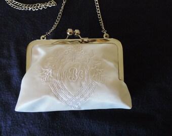 Elegant Bridal Monogram Purse with Chain