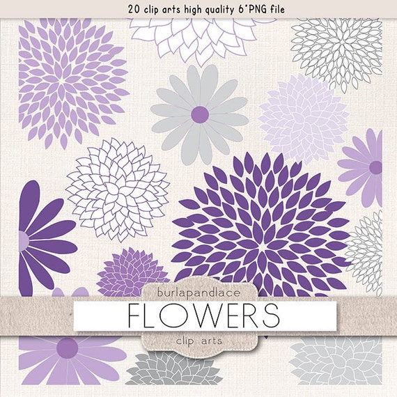 Items similar to Clipart flower cliparts, dahlia, purple ...