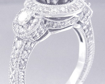14k white gold round cut simulated diamond engagement ring halo art deco style 2.04ctw