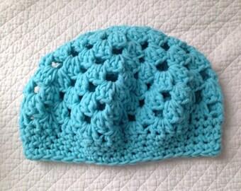 Robin's Egg Blue 100% Cotton Crochet Tam Hat