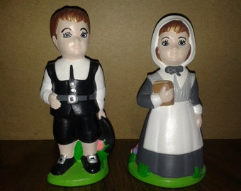 1974 Duncan Ceramic Prod. Inc - Ceramic Pilgrim Boy and Girl