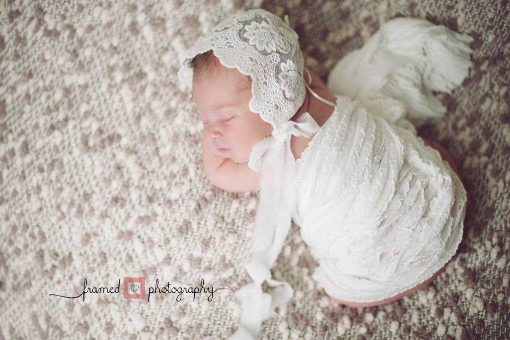 LACE BABY BONNET, vintage lace, off white, newborn, stretch lace, handmade