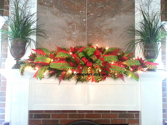 Xxl garland swag christmas fireplace mantle by azeleapetals for Christmas swags and garlands to make