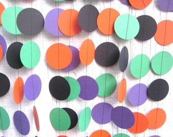 Halloween Paper Circles Garland, Birthday Garland, Wedding Garland, Baby Shower Garland, Photo Prop