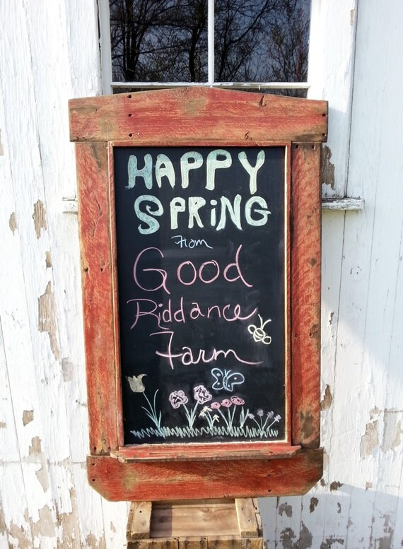 Recycled reclaimed wood chalk board menu board primitive folk for Recycled wood board