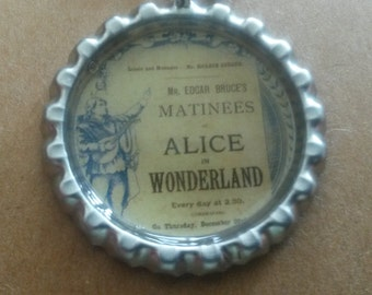 alice in Wonderland bottle cap necklace
