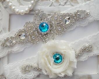 Wedding Garter Set, Bridal Garter Set, Vintage Wedding, Off White Lace Garter- Style 100D