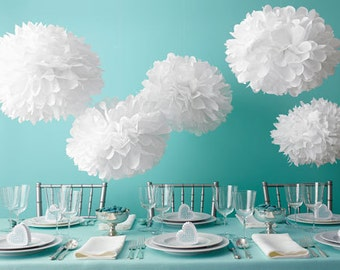 12pcs Mixed 3-Size Tissue Paper Pom Poms Flower Wedding Birthday Party Baby Room Decroation