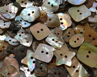 FREE SHIPPING--Real Akoya shell button mixed style mixed size (6mm - 25mm)
