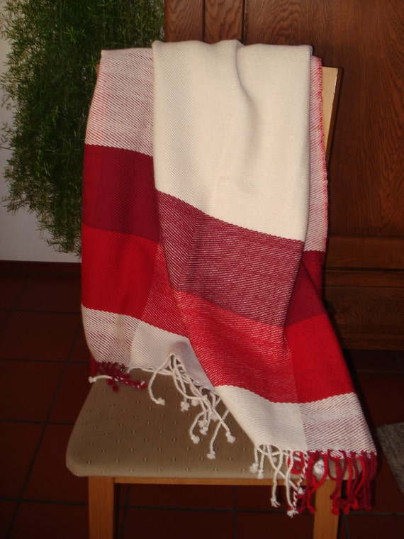 Throw or Blanket, 100% Alpaca Wool, Handwoven, colours off white, dark tomato & red