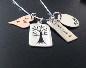 Family Tree -  Hand Stamped Mommy Jewelry - Personalized Jewelry - Sterling Silver Necklace -