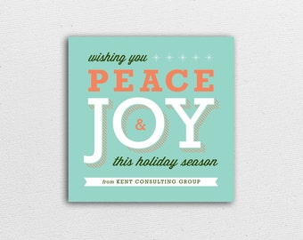 Holiday Card - Peace & Joy in Aqua - Corporate or Family