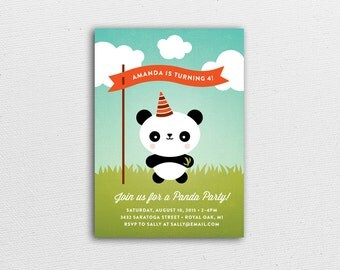 Panda Party - Kids Birthday Party Invitation & Kraft Envelope