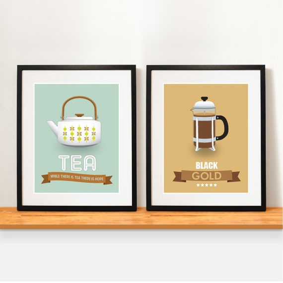 Items Similar To Coffee Tea Poster Set Kitchen Decor