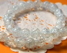 8mm Natural Clear Crack Glass Gemstone Beads - 20pcs (G8224- FikaSupplies)