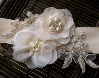 Champagne, Ivory, and Gold Bridal Sash Belt With Fabric Flowers, Lace, Pearls, Vintage Style Button - Lace Bridal Sash