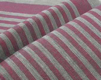 Rose Pink Narrow strips Upholstery Decorator 100% Linen fabric Reversible Ecru Grey French Heavy Weight New ECO-friendly - custom yardage