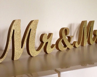 Gold glitter MR MRS wedding sign  for sweetheart table,engagement, prop photo, sweetheart table ,Table sign, wooden letters, centerpice