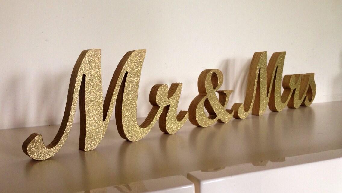 Gold Glitter MR MRS Wedding Sign For Sweetheart