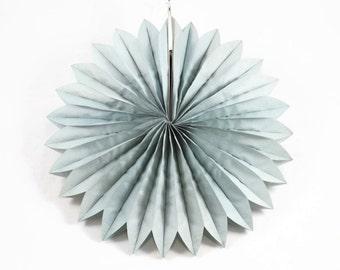 40cm GREY PAPER FAN - Light Grey Tissue Paper Paper Fan / Medallion Lantern (40cm / Approx 15 Inch Diameter)