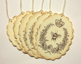 Queen Bee Tags, French, Crown, Bee Hive, Honey Labels, Set of 6