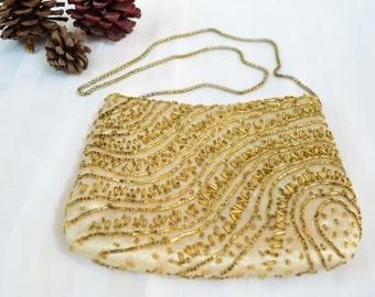 Regale Golden Hand Made Clutch // Vintage Clutch // Evening Clutch // Vintage Purse // Gold Clutch // Beaded clutch