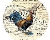 "INSTANT DOWNLOAD - Country French Farmhouse Collage Sheet - Vintage Roosters Hen - Writing - gift tags - 2"" Rounds - 12 per sheet -Printable"