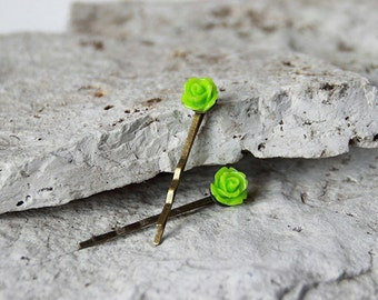 Neon Green Rose Brass Plated Bobby Pins