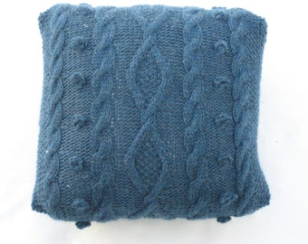 denim blue pillow, cable knitted throw pillow,  eco-friendly, couch cushion, knitted pillow