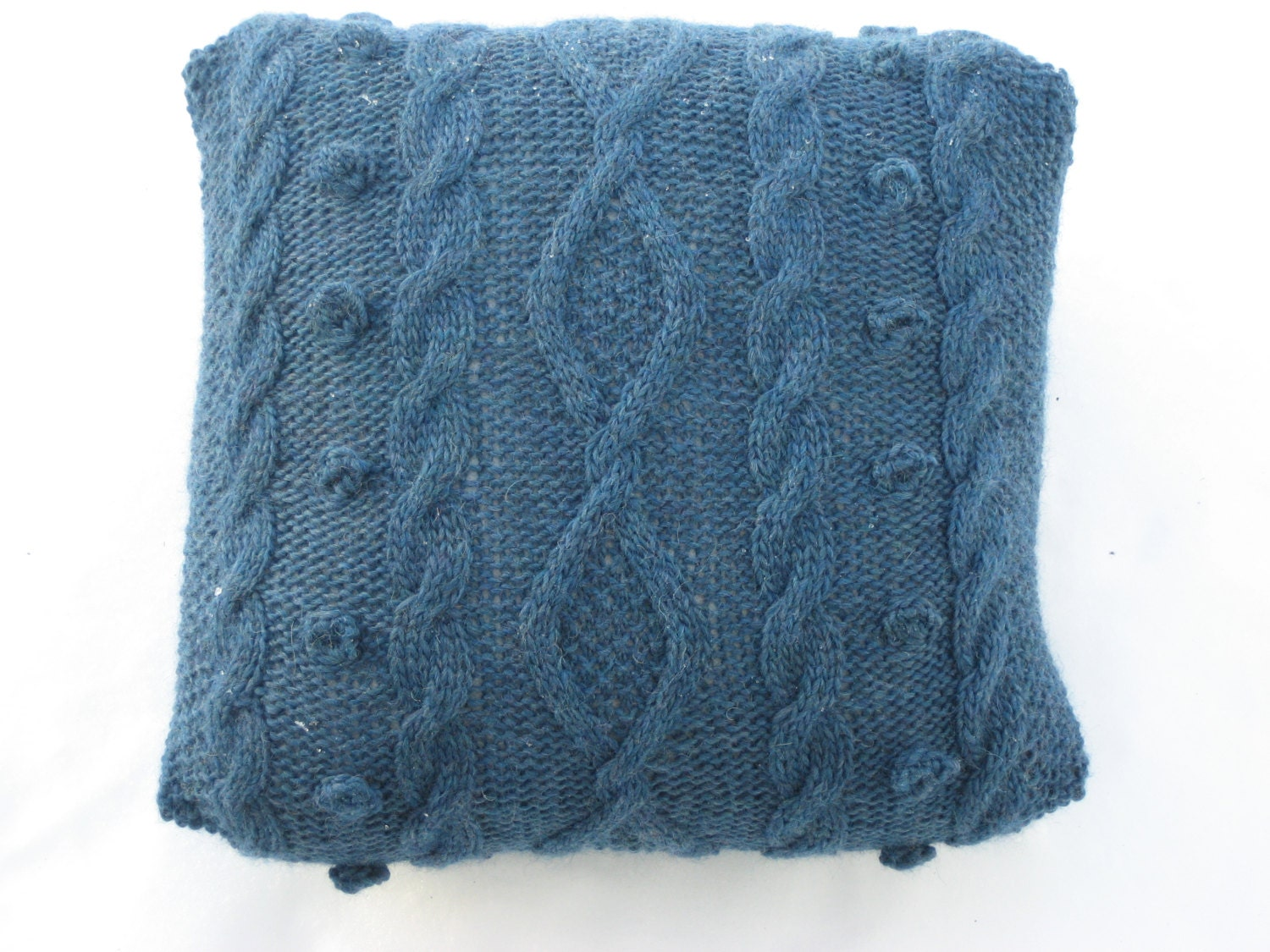 Decorative Denim Pillows : denim blue pillow cable knitted throw pillow eco-friendly