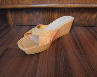 Orange & Yellow Snakeskin Leather Sandals Sz 9