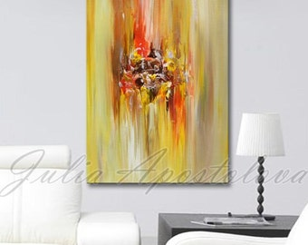 Art, Abstract Painting,Yellow Abstract Landscape, Print, Large Painting, Modern, Landscape, Minimalist Painting, Orange, Gold, Copper, Brown