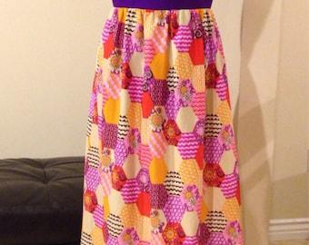 Vintage 1960's Purple & Honey Comb Pattern Maxi Dress